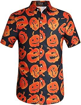 SSLR Men s Fun Pumpkins Button Down Short Sleeve Halloween Shirt  XX-Large Black 249