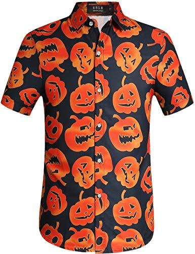 SSLR Men's Fun Pumpkins Button Down Short Sleeve Halloween Shirt (Large, Black(249))