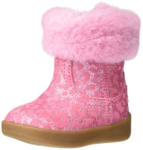 UGG baby girls Jorie Ii Glitter Leopard Fashion Boot, Wild Berry, 7 Toddler US