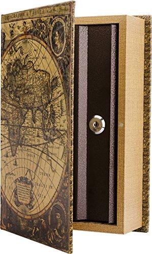 BARSKA CB12480 Key Lock Antique Map Diversion Book Safe Lock Box