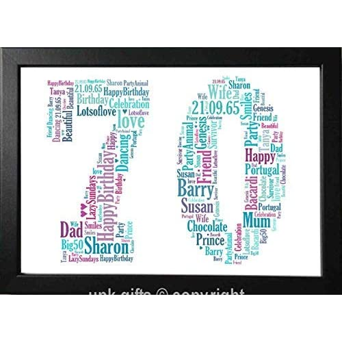 UPK Gifts 70th Birthday Personalised Print Gift Any Age 70 1st 16th 18th 21st 30th