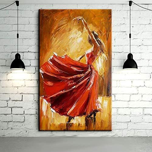 FSGEIV pintura al oleo Bailarina de flamenco pintada a mano Pintura al óleo sobre lienzo Bailarina bailando con vestido rojo Pinturas al óleo 60x90CM