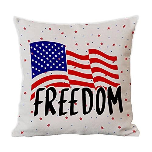 BYRON HOYLE Frihet prydnadskudde överdrag 4 juli självständighetsdagen bomull linne rustikt kuddöverdrag för bäddsoffa 45 cm x 45 cm