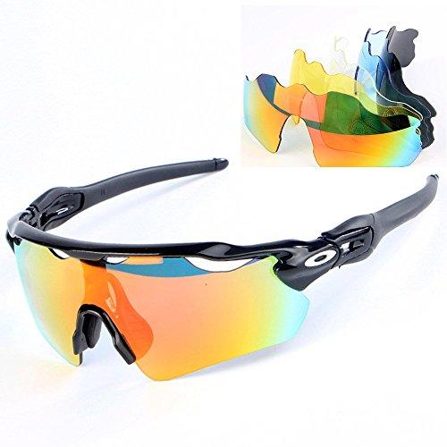 Gafas Polarizadas Deporte Bici Anti UV400 Gafas para Correr Running Antivaho con 5 Lentes Intercambiables Adaptadas También A Ciclismo Bicicleta De Montaña MTB