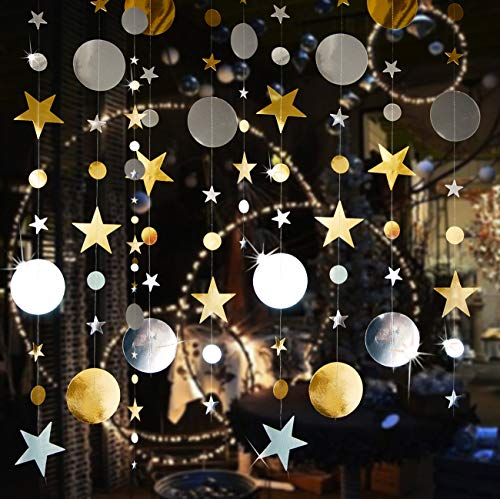 52 Fts Twinkle Star Bunting For Room Decor, Gold Silver Garlands Kit for Party Decoration,Circle Dot Garland Decorations For Wedding,Christmas,Birthday, Kids Room, Baby Shower - Gold Silver 4Pcs