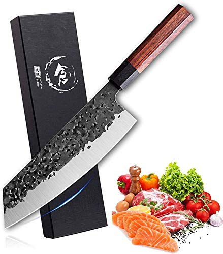 Freelander Kochmesser Kiritsuke Messer ultrascharfes 8 Zoll Handgeschmiedete Küchenmesser professionelles Kochmesser aus kohlenstoffreichem Stahl Mehrzweck Bunka Messer für zu Hause und Restaurant