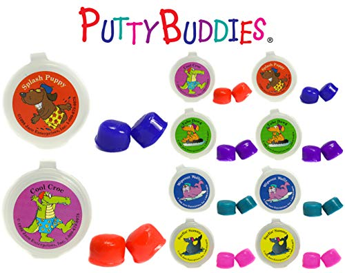 Putty Buddies Ear Plugs 10-Pair Pack - Soft Silicone Ear Plugs for Swimming & Bathing - Invented by ENT Physician - Block Water - Premium Swimming Earplugs - Doctor Recommended (Assorted)