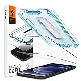 Spigen, 2 Pack, Protector Pantalla iPhone 12 / iPhone 12 Pro (6.1'), EZ Fit, Kit de Instalación Incluido, Vidrio Templado, Dureza 9H, Compatible con Fundas, Alta Definicion, Anti-Arañazos