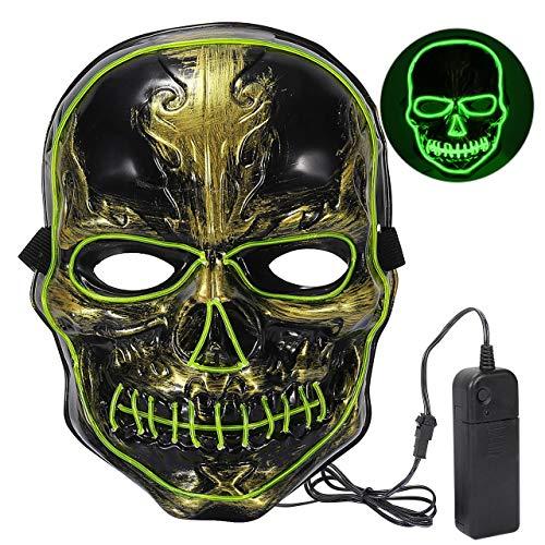 XDDIAS Halloween Maske LED, Light EL Wire Cosplay Maske mit 3 Blitzmodi für Halloween Karneval Erwachsene Kostüm für Männer und Frauen