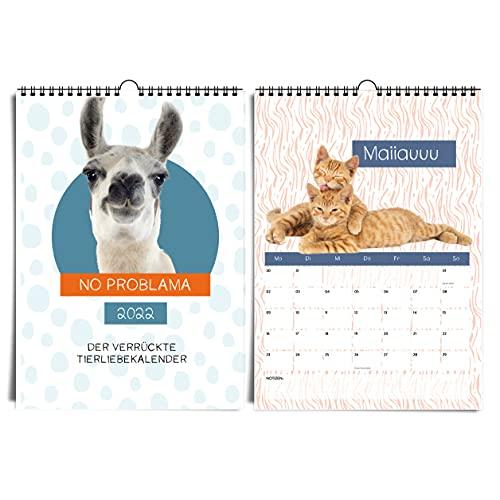 heaven+paper Tierkalender 2022 - der lustige A4 Wandkalender für Tierliebhaber von Alpaka, Hase, Katze, Lama und Hund für Erwachsene und Kinder