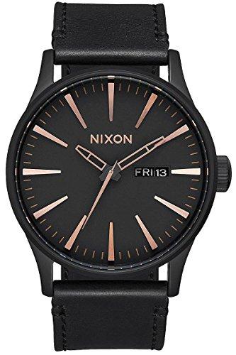 Nixon Armbanduhr Sentry Leder All Black / Rose Gold