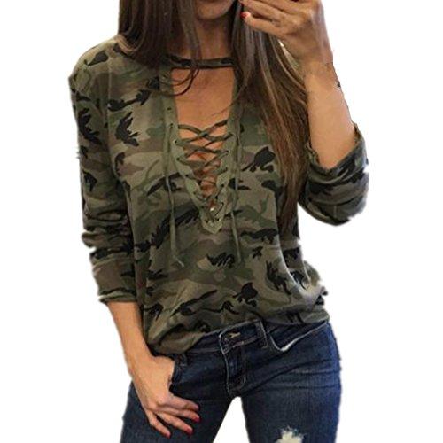 Bekleidung Longra Damen Mode Frauen Langarm Shirt schlanken lässige Bluse Camouflage Print Tops (S)