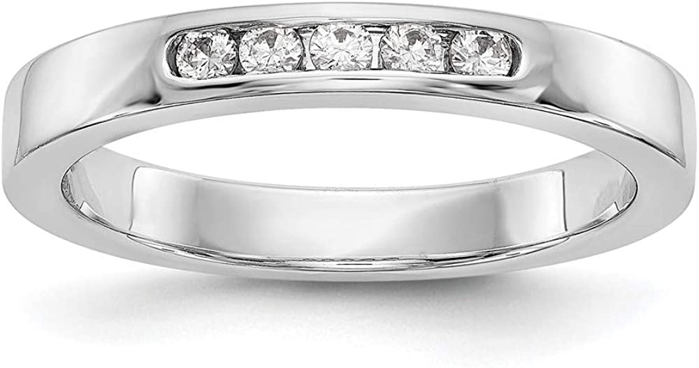 14k White Gold True Origin Lab Grown Diamond Vs/si D E F 5 Stone Channel Wedding Ring Band Size 6.00 Bridal Fine Jewelry For Women Gifts For Her