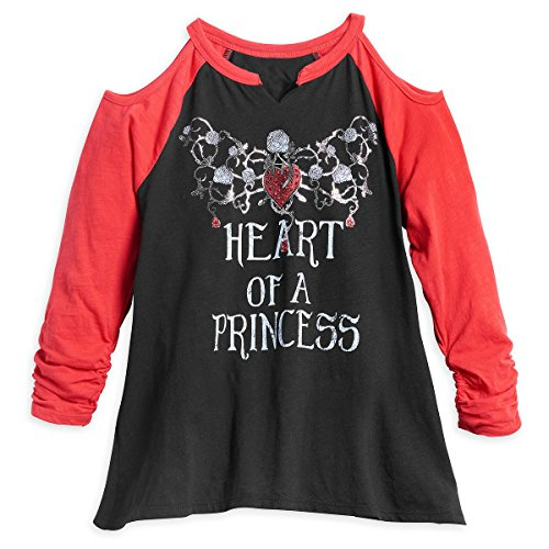 Disney Mädchen Snow White Heart of a Princess Hemd, schwarz/Lippenstift rot, Klein