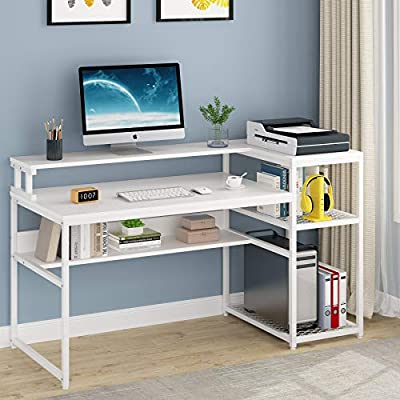 Tribesigns Computer Desk with Hutch and Storage Shelves, 63 inch Large Industrial Office Desk Study Writing Table Workstation with Printer Stand and Bookshelf for Home Office (White)