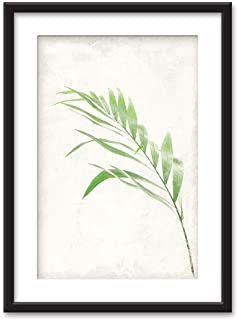 wall26 - Framed Wall Art - Bamboo Leaf - Black Picture Frames White Matting - 23x31 inches