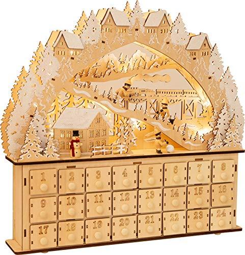 small foot 11789 Adventskalender Skivergnügen aus Holz mit 24 Schubladen, Weihnachtspyramide mit LED-Beleuchtung, Weihnachtsdeko Deko, Mehrfarbig, normal