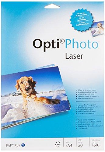 Papyrus 88224768 Fotopapier Opti Photo Laser: A4, 160 g/m², 20 Blatt, hochweiß, für Laserdrucker