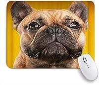 NIESIKKLAマウスパッド 面白い犬かわいいペットブラウンブルドッグデザイン ゲーミング オフィス最適 高級感 おしゃれ 防水 耐久性が良い 滑り止めゴム底 ゲーミングなど適用 用ノートブックコンピュータマウスマット