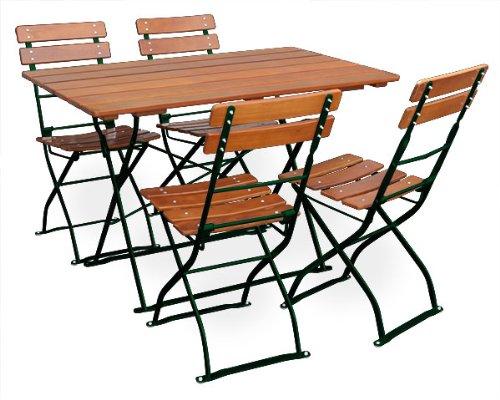 EuroLiving Biergartengarnitur 1x Tisch 120x70 cm & 4X Stuhl Edition-Classic Ocker/grün