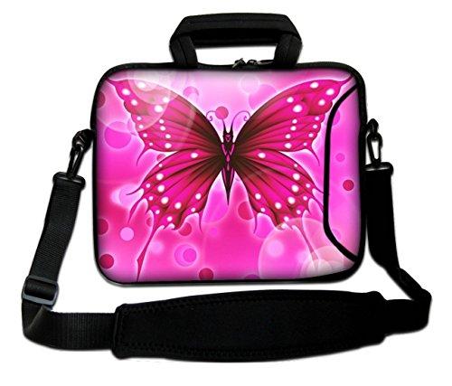 Ektor Sleeve / Schutzhülle, mit Tragegriff und Schulterriemen, für Laptops mit 10-17,6Zoll (25,4-44,7cm) Auch in anderen Designs und Größen erhältlich (Teil 1 von 2) Großer pinker Schmetterling 250 x 330 mm