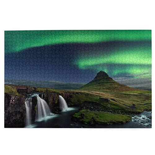 Rompecabezas de 1000 Piezas,Rompecabezas de imágenes,Northern Light Mountain Kirkjufell Islandia Vista,Juguetes Puzzle for Adultos niños Interesante Juego Juguete Decoración para El Hogar