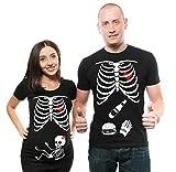 Silk Road Tees Camisa de Halloween Esqueleto de la Maternidad de la niña de X-Ray Pareja Camisas a Juego Esqueleto de Burger Camisa de la Cerveza tee Men Medium - Women XXL Negro