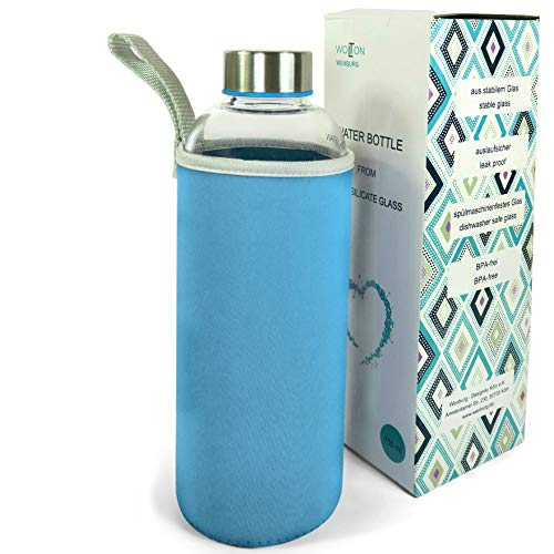 Wenburg Wolton Botella de cristal con tapa de acero inoxidable 550 ml/750 ml/1 l, funda de neopreno Botella deportiva de cristal. Para viajes (1 L), color azul