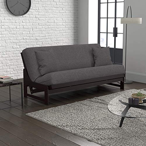 Uptown Urban Loft Linen Series Convertible Sofa Bed Collection by Nirvana Futons - Queen Size Dark Espresso Arden Futon Frame, Pillows, Mattress and Umax Gray Futon Cover Set