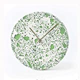 Reloj de Pared silencioso 10 Pulgadas de Reloj de Pared Creativo Cemento Silenciar el Reloj del Arte for el Hogar Reloj de Pared Redondo (Color : Green)