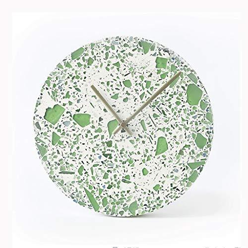 YITIANTIAN Reloj de Pared 10 Pulgadas de Reloj de Pared Creativo Cemento Silenciar el Reloj del Arte for el Hogar Reloj de Pared Digital (Color : Green)