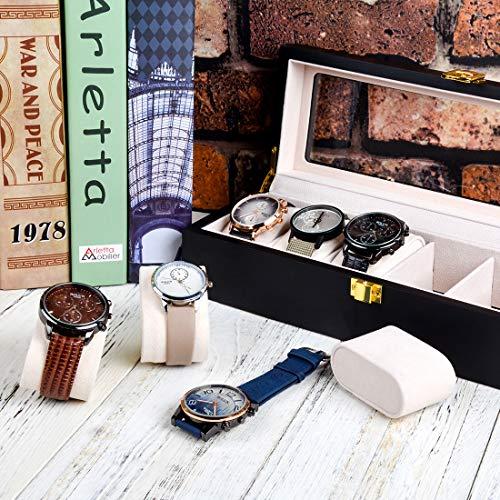 Karamanda Wooden Paint Vintage Watch Box-6 Wide Watch Slots Watch Case,Jewelry Watch Display,Storage Organizer, Men's Gift -Business,Jewelry Box Black