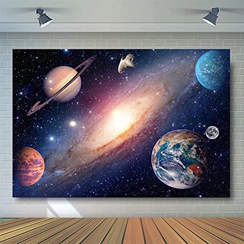 HSLINU Fondo de sesión de Fotos Planet Universe Sparkle Photo Telón de Fondo para sesión de Fotos Tela de Vinilo Retrato para bebés recién Nacidos Niños Adultos (Color : Blue2, Size : 8x8ft)