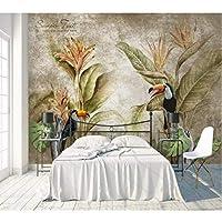 Iusasdz カスタム壁紙3D写真壁画北欧レトロ熱帯雨林ソファテレビ背景壁リビングルーム寝室の壁紙-200X140Cm