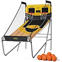 A11N Sports Sharpshooter Dual Shot Basketball Arcade Game with Durable Frame, Electronic Scoreboard and Sound Effects (Yellow)