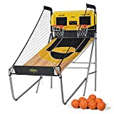 A11N SPORTS A11N Sharpshooter Dual Shot Basketball Arcade Game, 8 Game Options & 8 Balls - Indoor Basketball Hoop with Durable Frame, Electronic Scoreboard and Sound Effects, Yellow