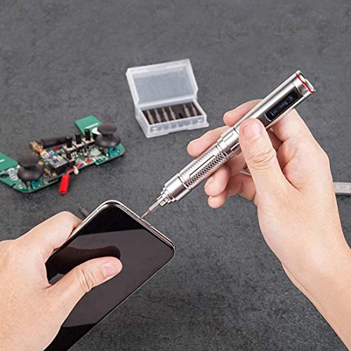 Screwdriver Mini ES121 OLED Screen 16 Screw Kit STM32 Sensor Mini Portable Power Screwdriver Rechargeable Cordless Smart Motion Control El - (Color: Silver)