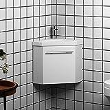 Xinyang Mobile da bagno sospeso triangolare da 40 cm con porta singola e lavabo in pietra artificiale bianca