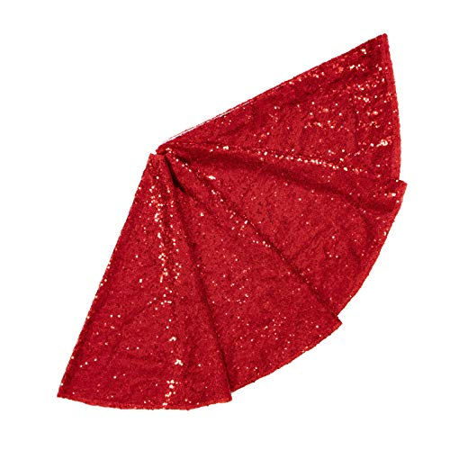 ShinyBeauty Sequin Tree Skirt 24Inch Christmas Tree Skirt Embroidered Sparkly Red Xmas Tree Ornament Christmas Decoration Small Tree Skirt for Small/Slim/Pencel Trees