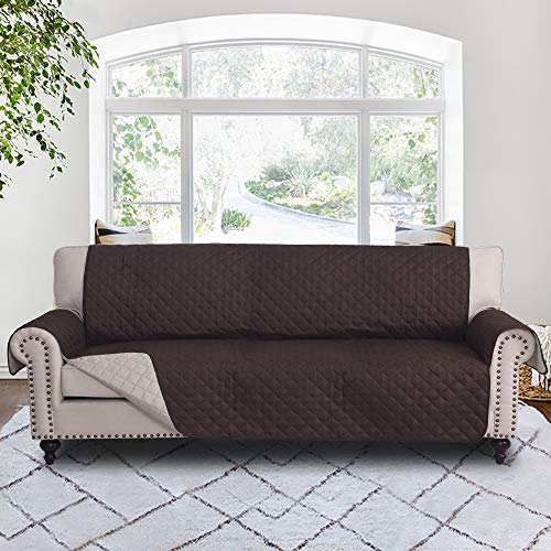 """RHF Couch Protectors for Dogs,Reversible Pet Protector Furniture Covers,Sofa Protector Cover,Wide Chair Cover,Couch Covers,Extra Large Sofa Slipcover,Width 78""""(Sofa-Extra Wide:Chocolate/Beige)"""