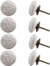 Indian-Shelf Handmade Ceramic Flat Cabinet Knobs Solid Drawer Pulls Kitchen Handles(White, 1.75 Inches)-Pack of 8