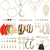 43 Pcs Necklace and Earring Sets for Women Girls Including 38 Pcs Bohemian Leather Tassel Earrings & 5 Pcs Gold Multi-layer Choker Leaf Pendant Necklace for Birthday/Valentine's Day/Friendship Gifts