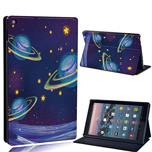 FINDING CASE For Amazon re HD 10 (5th 7th 9th Gen) Tablet - Printed PU Flip Leather Smart Lightweight Shell Stand Cover Case for re HD 10 (5th 7th 9th Gen) (fantasy planets)