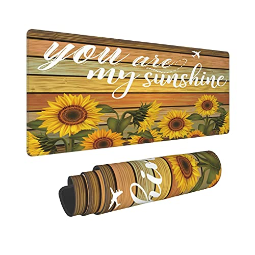 Sunflower Flower Floral Extended Mouse Pad 31.5x11.8 Inch XL You are My Sunshine Colorful Non-Slip Rubber Base Large Gaming Mousepad Stitched Edges Waterproof Keyboard Mouse Desk Pad for Office Home