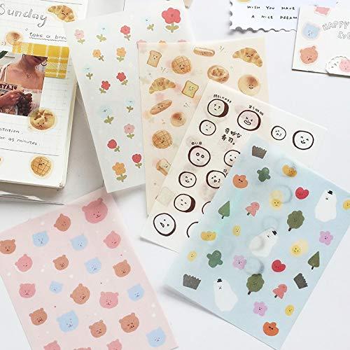 Platte Stickers Leuke Gezicht Voedsel Cartoon Creatieve Dagelijkse Leven Stationaire Scrapbooking Gift Meisje School benodigdheden 1 vel