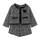 Kobay Kleinkind Kinder Baby Mädchen Outfit Kleidung Plaid Gestrickte Pullover Mantel Tops + Rock Set (1-2 Jahre, Schwarz-2)