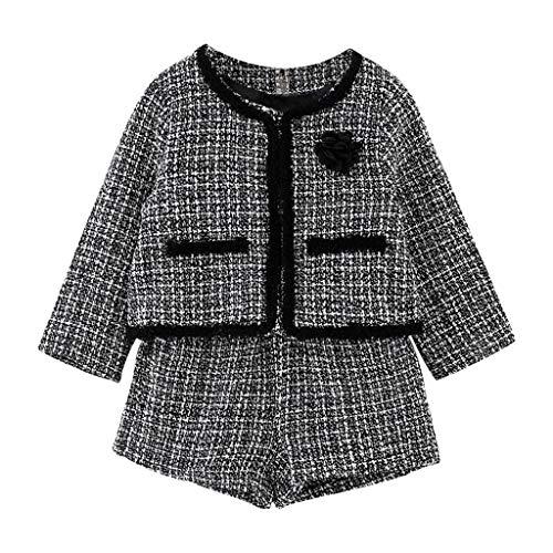 Kobay Kleinkind Kinder Baby Mädchen Outfit Kleidung Plaid Gestrickte Pullover Mantel Tops + Rock Set (3-4 Jahre, Schwarz-2)