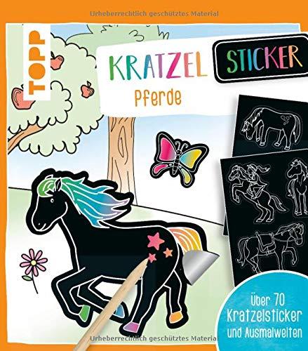 Kratzel-Stickerbuch Pferde: Kratzelbuch mit über 70 Stickern zum Kratzeln, 32 Ausmalseiten und Holz-Kratzstift
