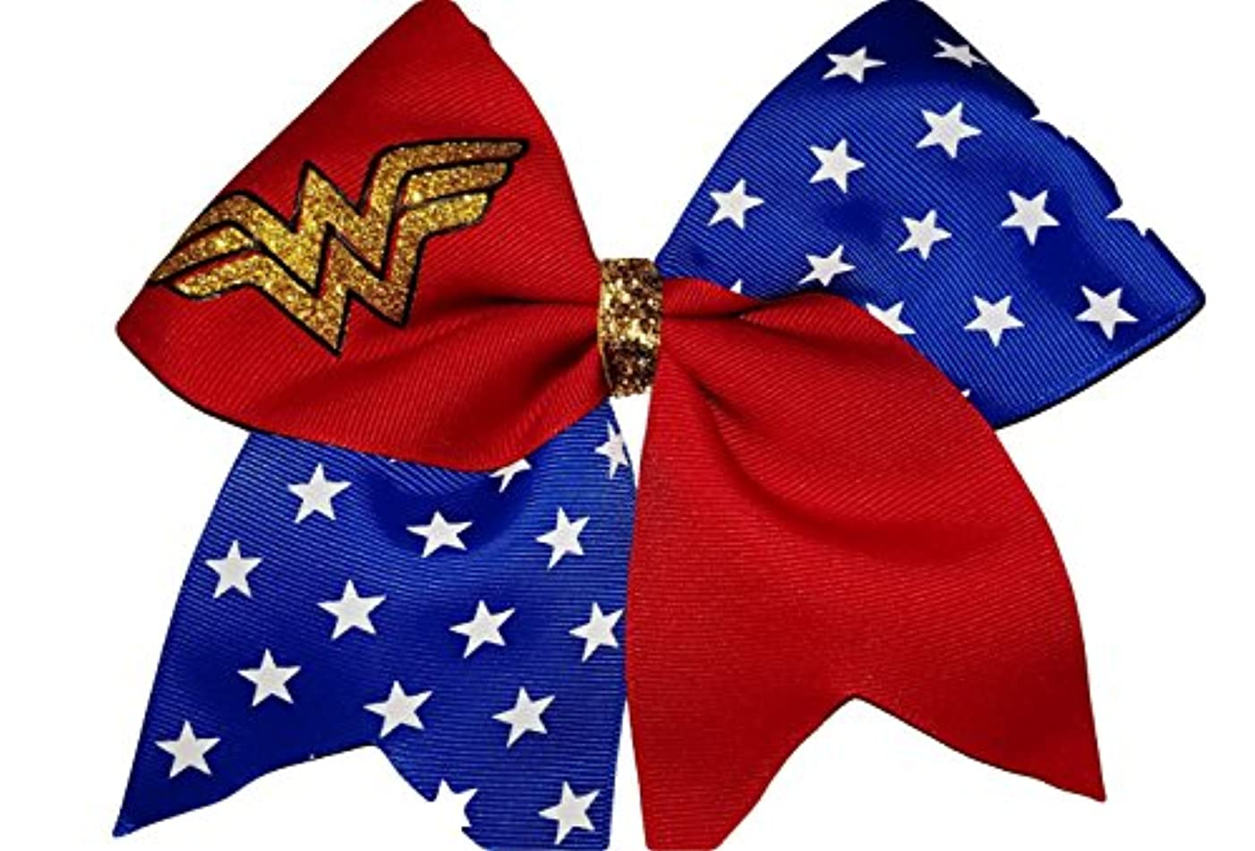 Cheer Bows red and Blue Sparkly Wonder Woman Hair Bow