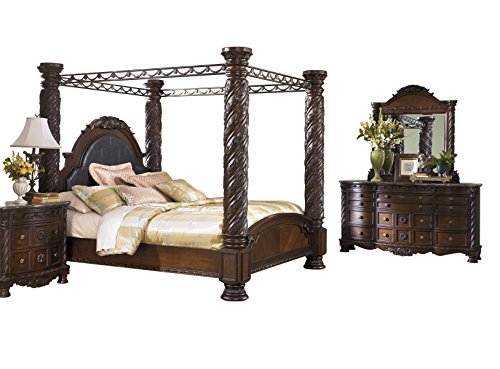 Fantastic Deal! North Shore 4 PC Bedroom Set: E King Poster Canopy Bed Dresser Mirror 1 Nightstand -...